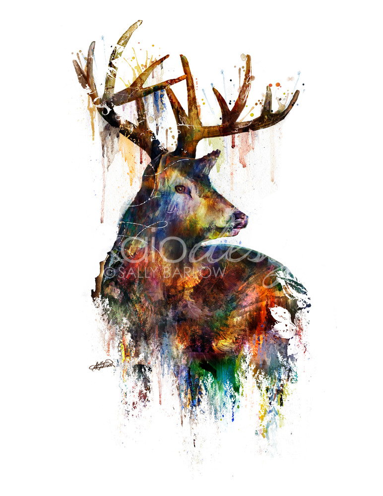Landscape Deer Art double exposure animal art by Sally Barlow