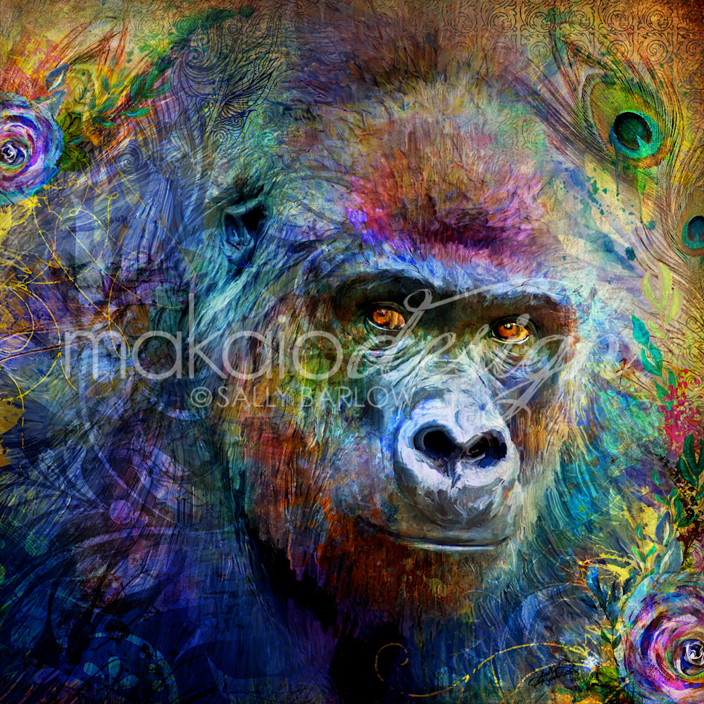 Garden of the Wild Series Gorilla Art mixed media painting by Sally Barlow