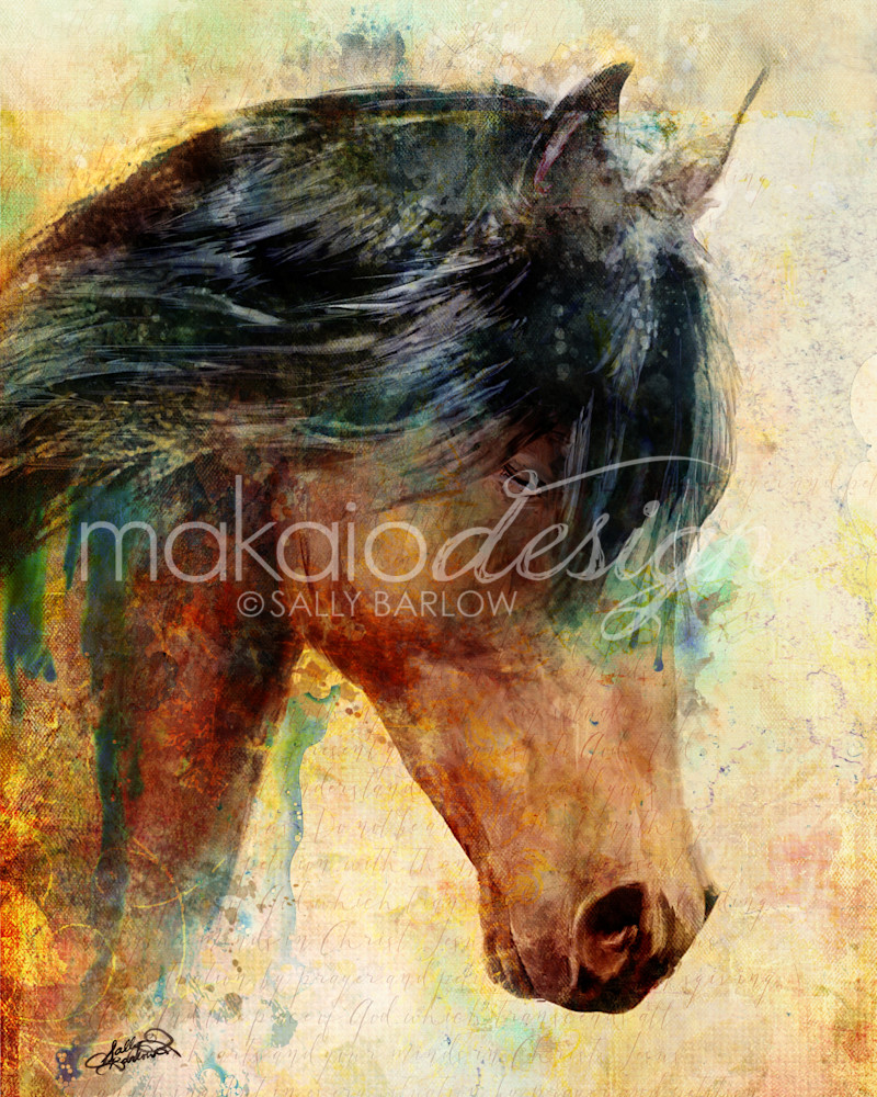 Praying Horse with scripture background mixed media art by Sally Barlow