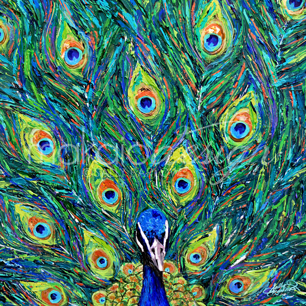 Contemporary Peacock painting by Sally Barlow
