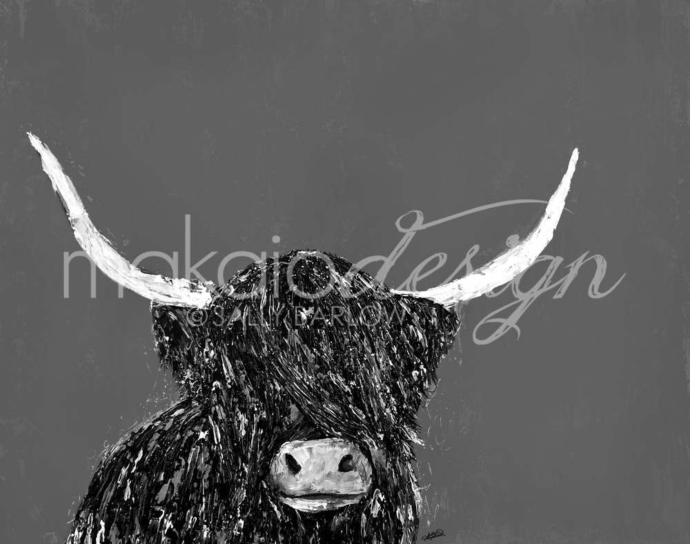 Black and White Highland Cow Painting