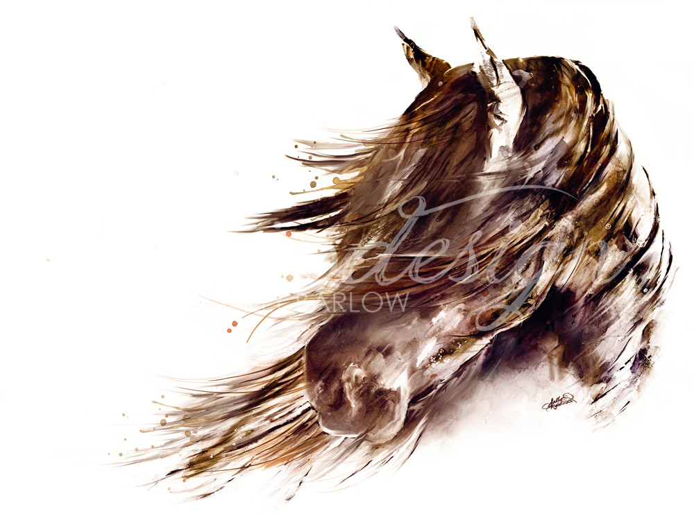 Abstract Horse Painting with sepia tones
