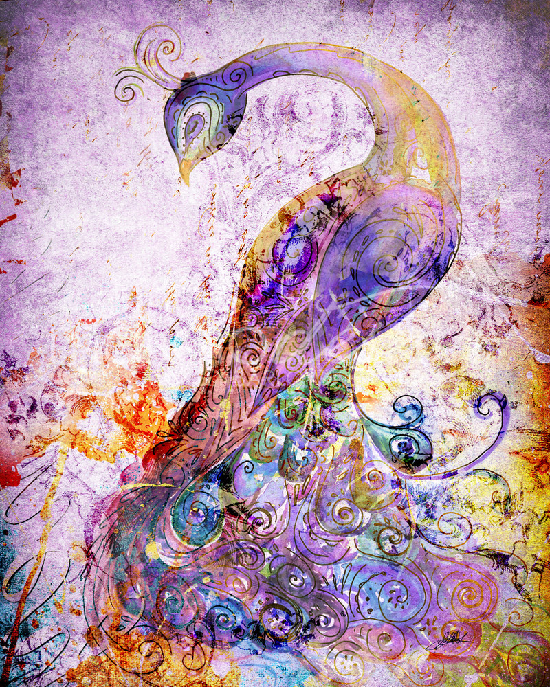 Mixed media purple peacock art by Sally Barlow