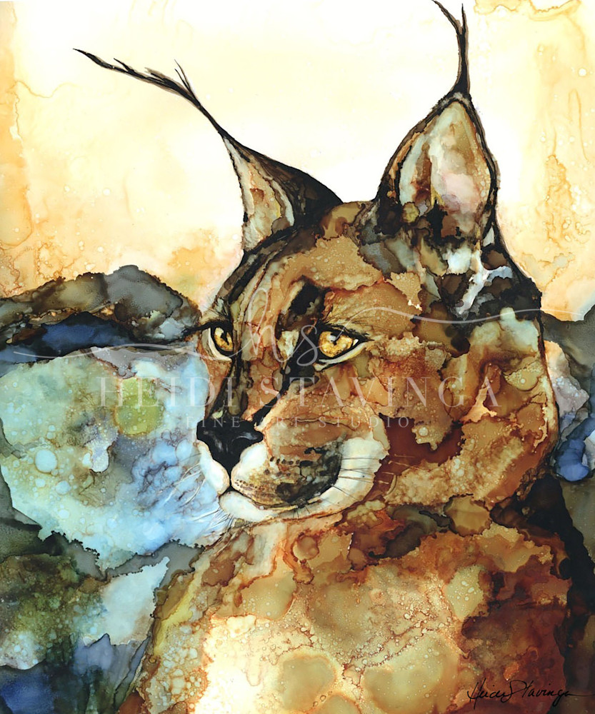 lynx painting, wild life art by Heidi Stavinga, alcohol ink