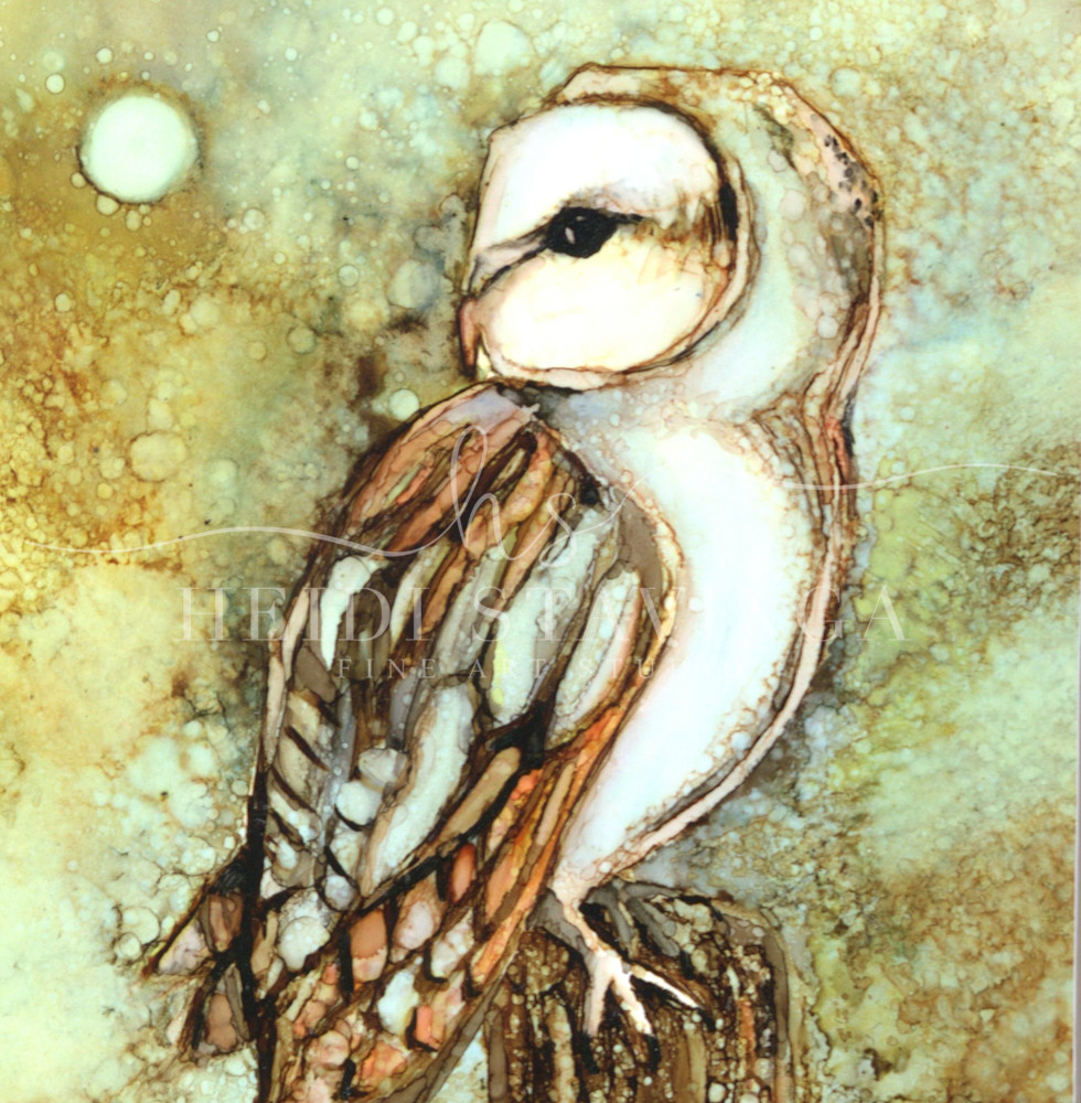 night owl, art print, alcohol ink art by Heidi Stavinga