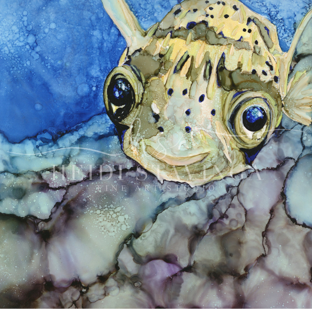 littel blow fish print from original alcohol ink painting created by Heidi Stavinga
