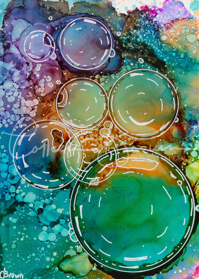 Rainbow Bubbles   Colourful Print Art   Colleen Brown Studio