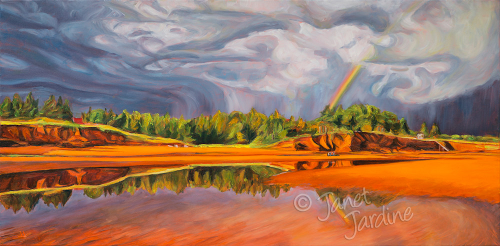 The Calm After the Storm, Prince Edward Island beach, painting by Janet Jardine