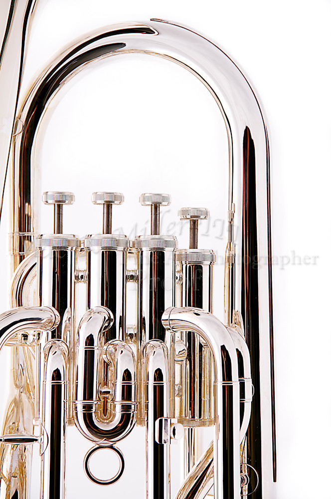 Silver Tuba Euphonium on White Wall Art BK8