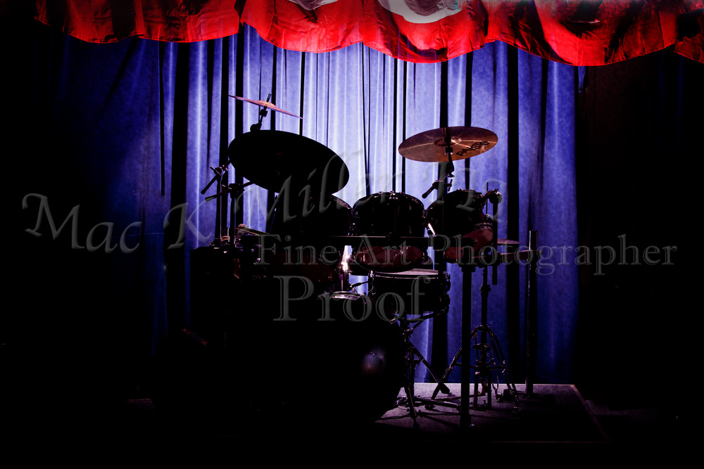 drum set on stage metal wall art