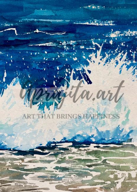 crashing wave by Aprajita Lal on watercolor paper