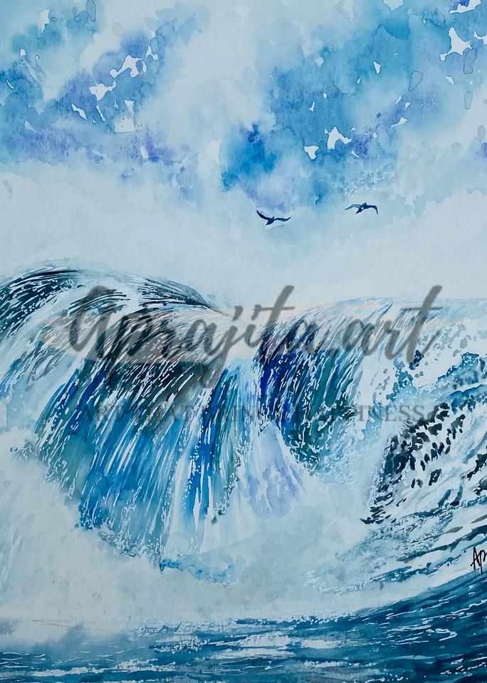 """Waterfall-2"" painting in watercolors by Aprajita Lal"