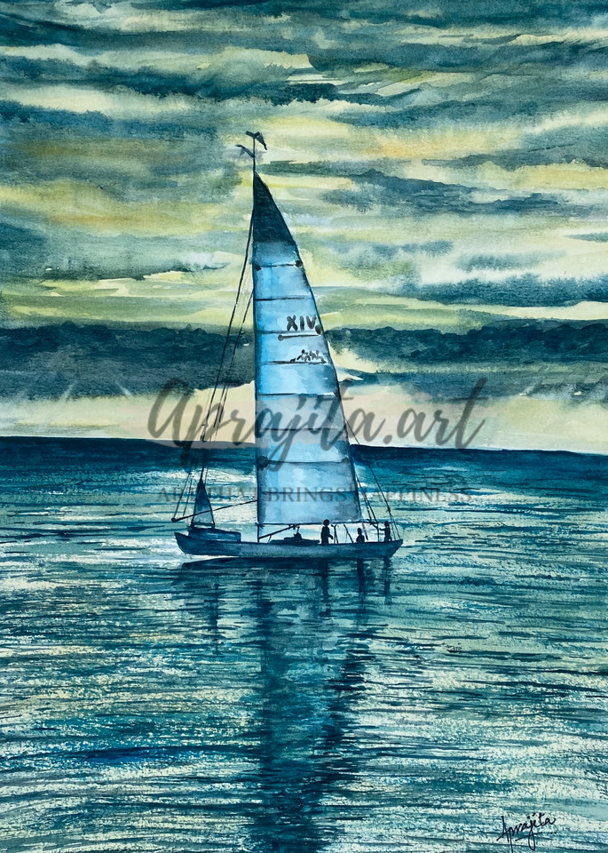A Boat and stormy skies in watercolors by Aprajita Lal