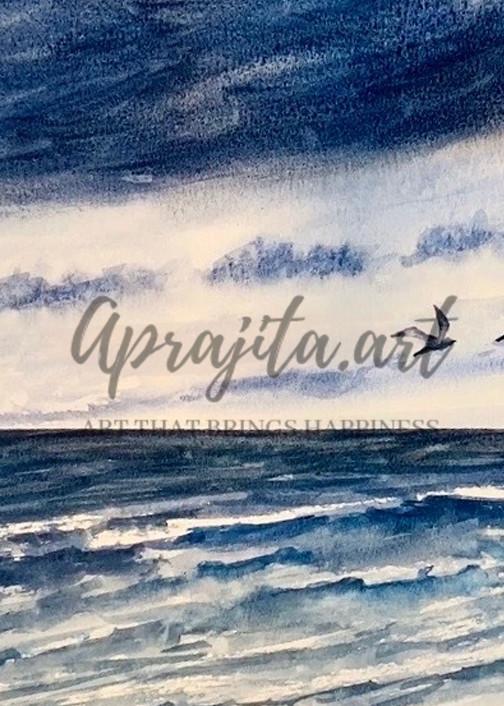 Stormy Beach And Retreating Birds Art | Aprajita Art LLC