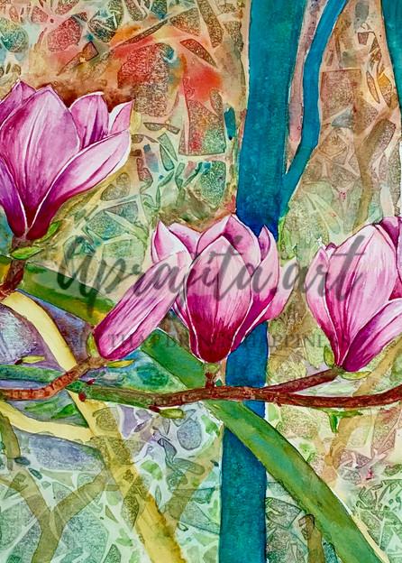 """""""Pink Magnolias"""" in Watercolors by Aprajita Lal"""