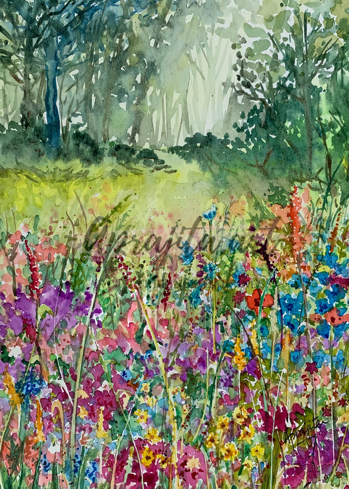 """Garden of Wildflowers"" in Watercolors by Aprajita Lal"