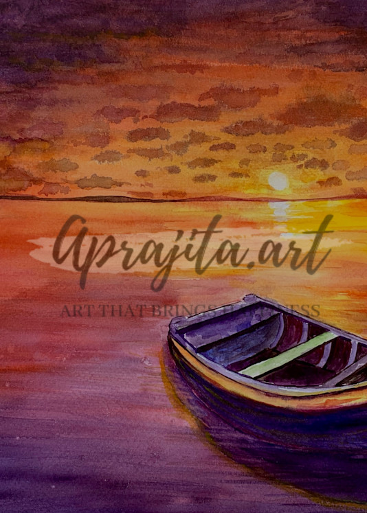"""Glorious Sunset"" in Watercolor by Aprajita Lal"