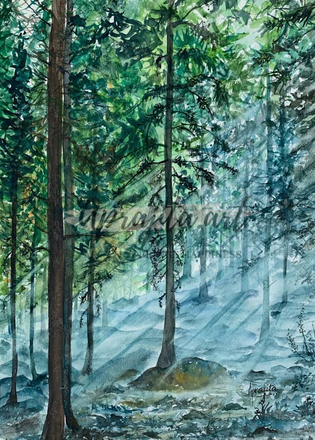 """Misty Woods"" Art Print by Aprajita Lal"