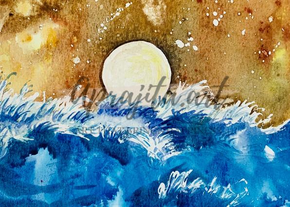 Golden Sun by Aprajita lal in Watercolors