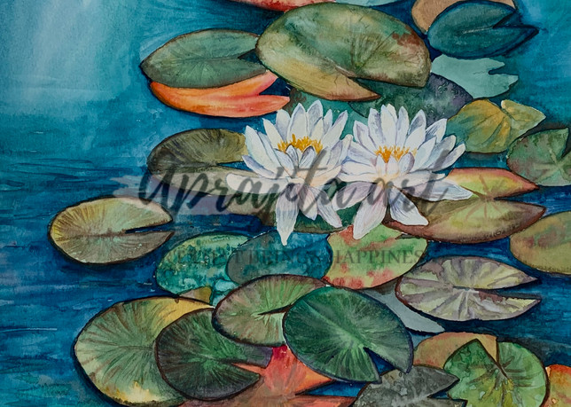 """""""Waterlilies -I"""" in watercolors by Aprajita Lal"""