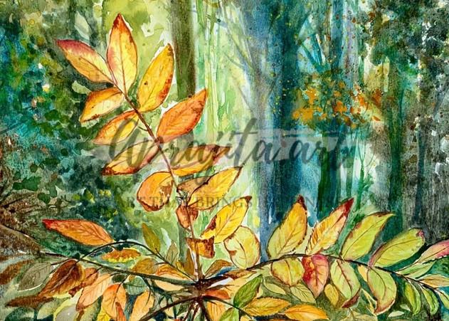 """""""Golden Leaves"""" in Watercolors by Aprajita Lal"""