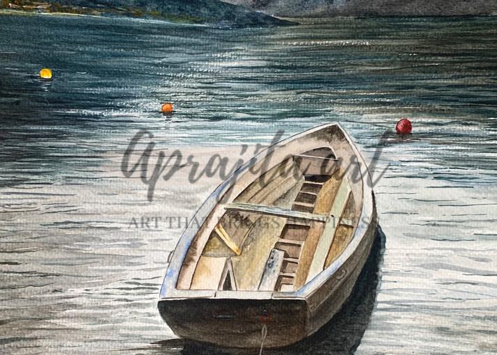 """A Boat at Lake Cuomo"" in Watercolors by Aprajita Lal"