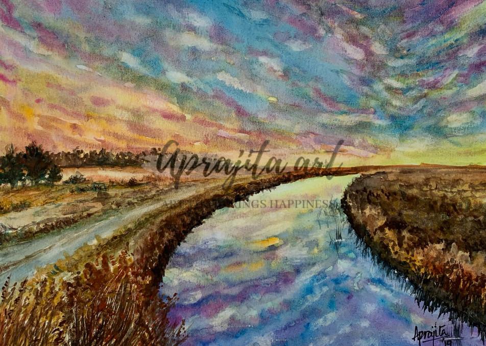 """""""Rainbow Skies"""" in watercolors by Aprajita Lal"""