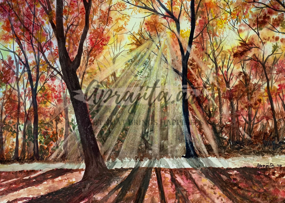 """""""A Fall Afternoon"""" in watercolors by Aprajita Lal"""