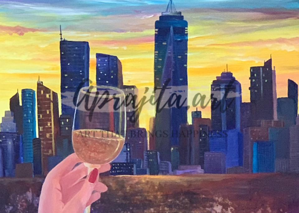"""Cheers to NYC"" - Acrylic painting on Gallery wrapped canvas by Aprajita Lal (Original 20X20)"