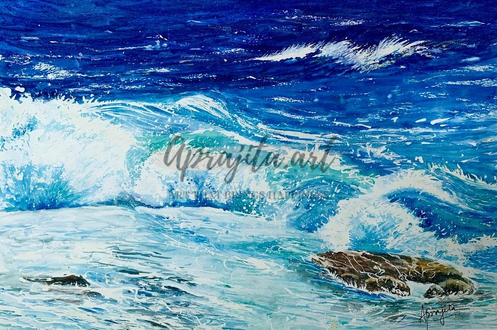 Waves in watercolors by Aprajita Lal
