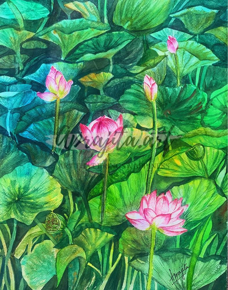 """""""Waterlilies-III"""" in watercolors by Aprajita Lal"""