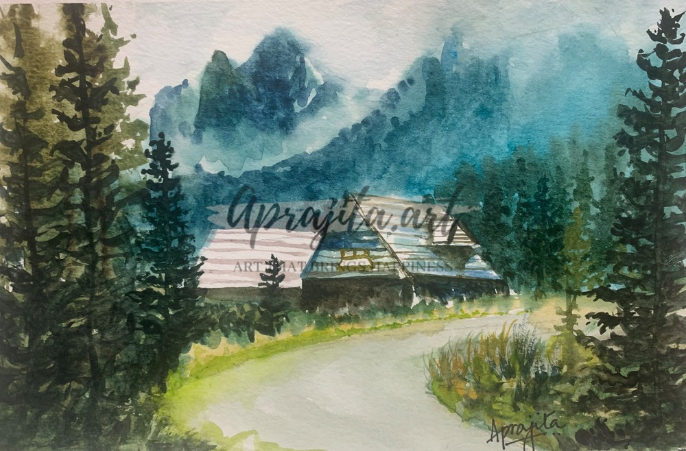 """""""Snow Clad Mountains And A Quaint Cottage"""" in watercolors by Aprajita Lal"""