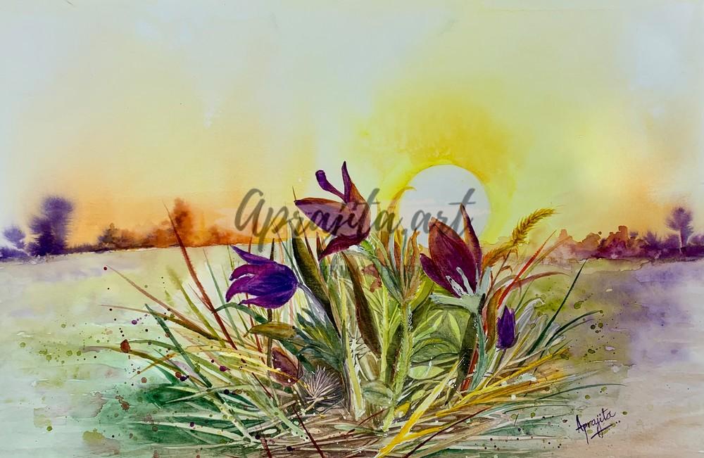 """Morning Glory"" in watercolors by Aprajita Lal"