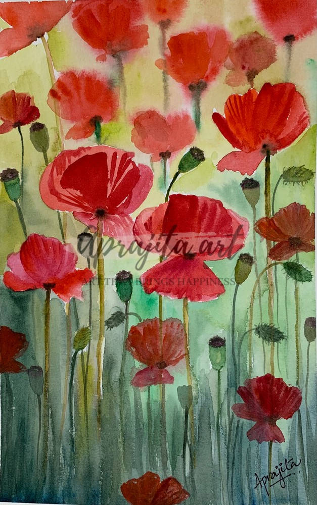 """""""Poppies"""" in watercolors by Aprajita Lal"""
