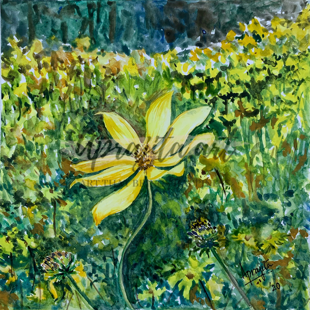 """A Trail of Yellow Wildflowers"" art print by Aprajita Lal"