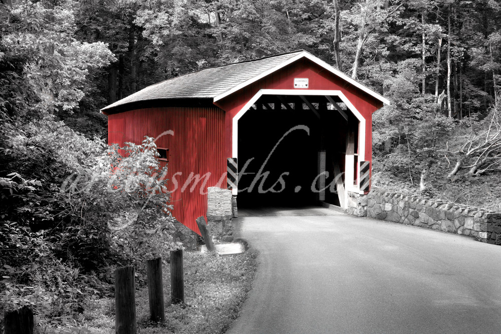 Lancaster Co. Covered Bridge In Summer B W R Photography Art | artbysmiths