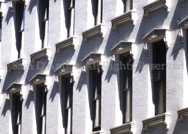 Windows On A White, Brick Building. New York City, NY.