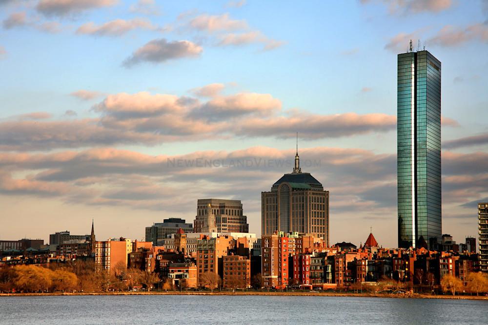 boston skyline sunset back bay hancock tower