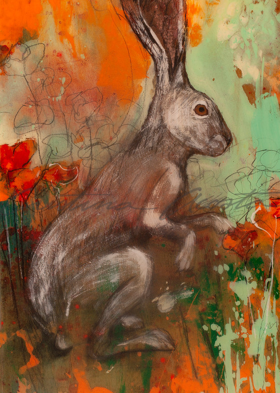 Jackrabbit standing in California Poppies painting on wood