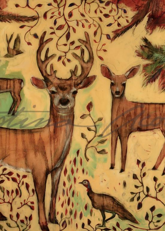 Deer Herd with Turkeys