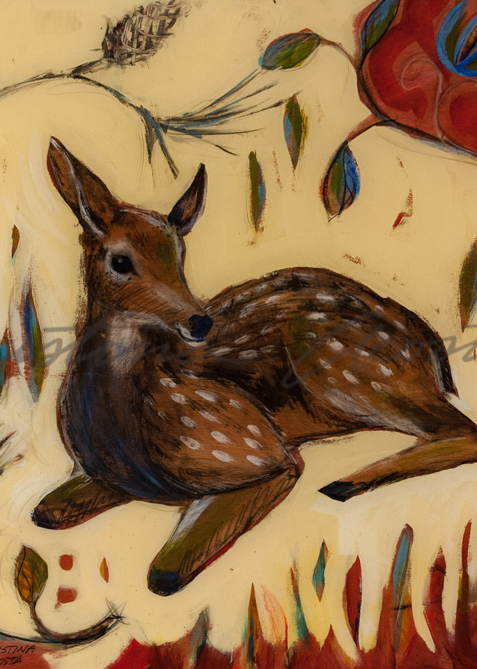 Little Fawn baby deer art Cristina Acosta