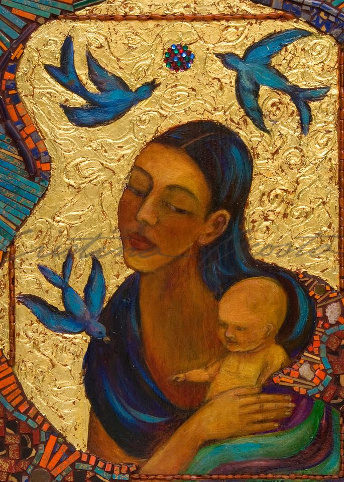 Madonna and Child with Birds altar retablo by Cristina Acosta