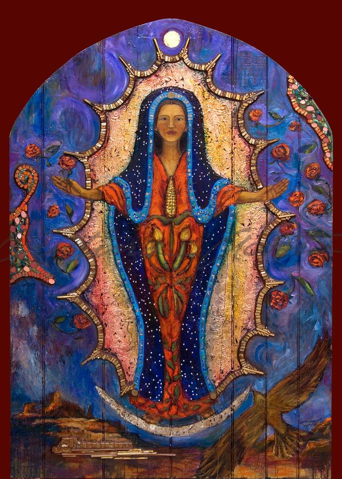 guadalupe with three sisters corn squash beans retablo