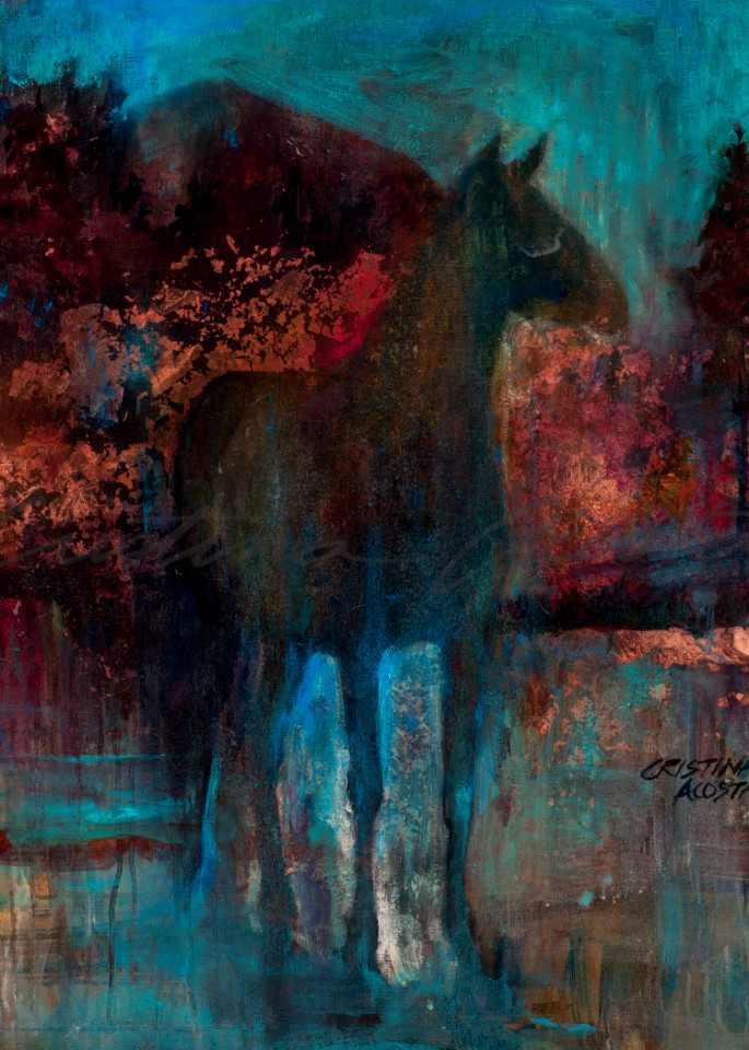 Standing Horse Under a Turquoise Sky