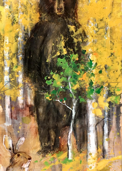 Standing Black Bear in Yellow Aspens with Hare