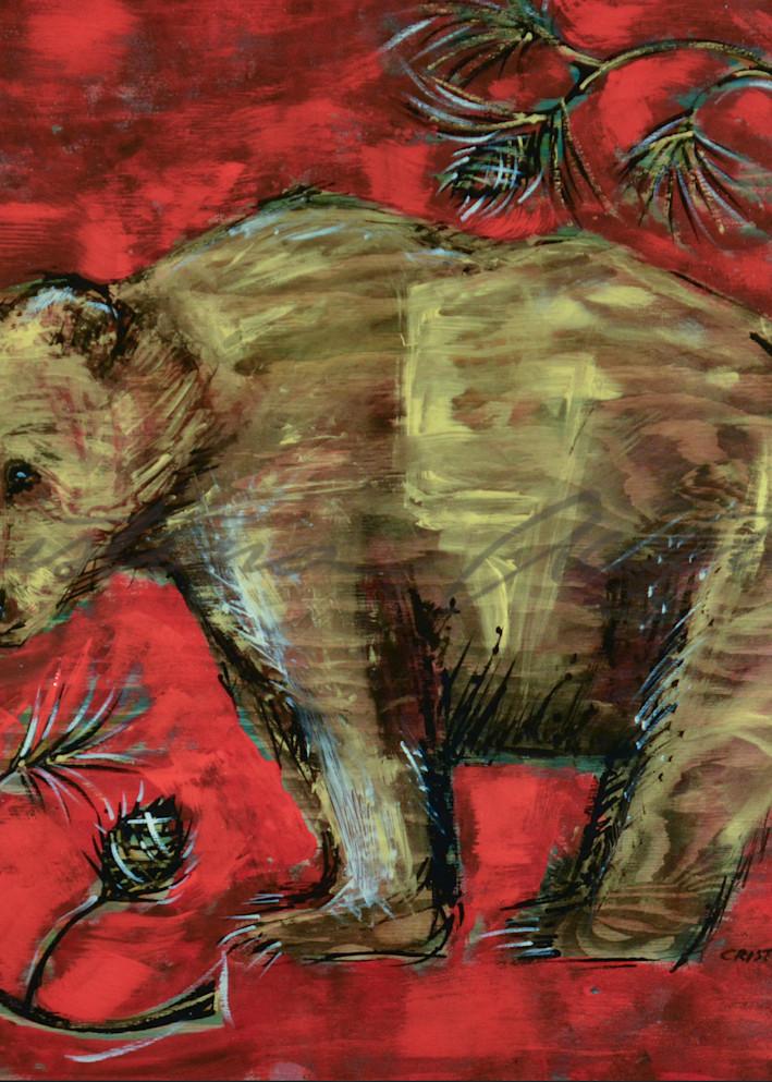 Golden brown bear painting