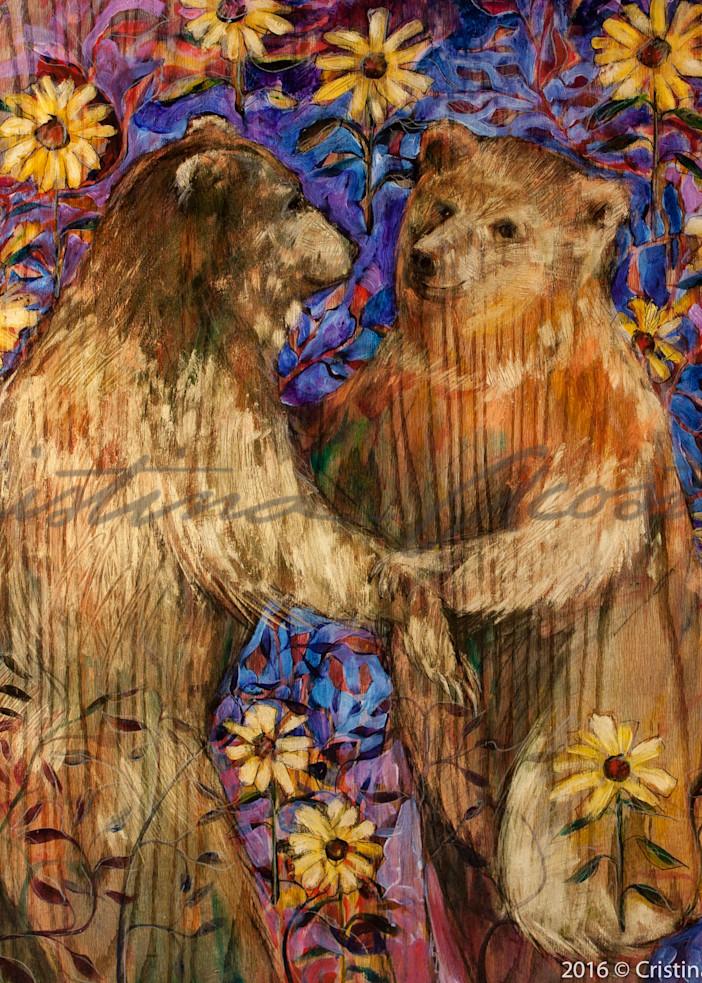 Bears in Love series - Dancing amid flowers