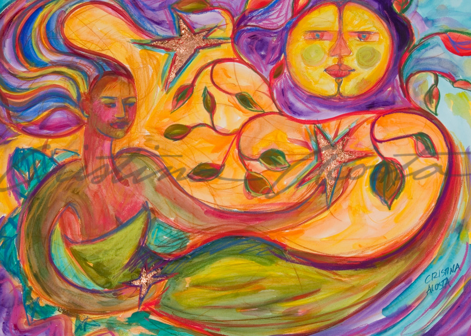 Mother earth and the moon divine feminine art