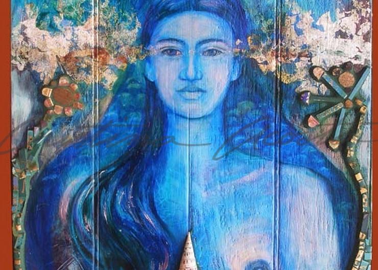 la sirena blue mermaid exvoto retablo