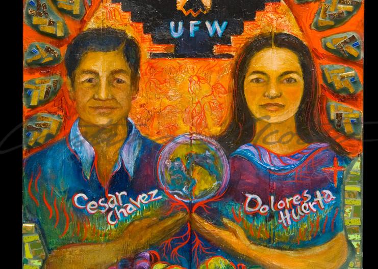 Dolores Huerta and Cesar Chavez Si Se Puede ex-voto retablo